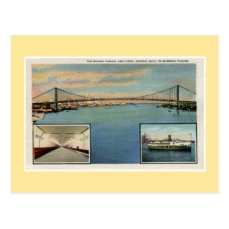 Vintage Detroit bridge to Windsor Canada Postcard