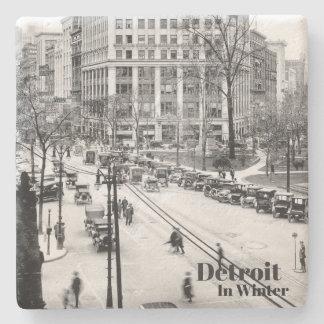 Vintage Detroit in Winter XI Stone Coaster