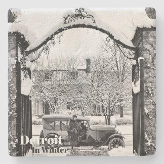 Vintage Detroit in Winter XV Stone Coaster