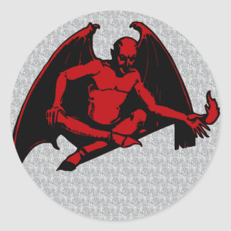 Vintage Devil Round Sticker