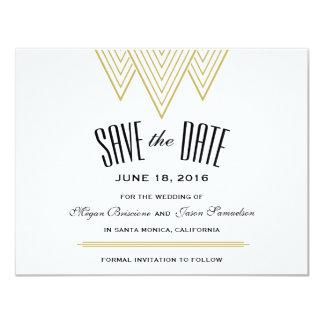 Vintage Diamond Black & Gold Save The Date 11 Cm X 14 Cm Invitation Card