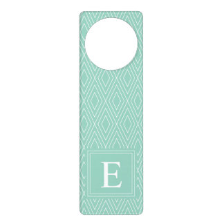 Vintage Diamonds White Teal Turquoise Door Hanger