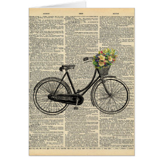 Vintage Dictionary Art Bicycle with Flowers Card