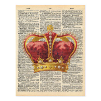 Vintage Dictionary Art Royal Crown Red Gold Postcard