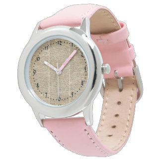 Vintage Dictionary Art Watch Pink Leather