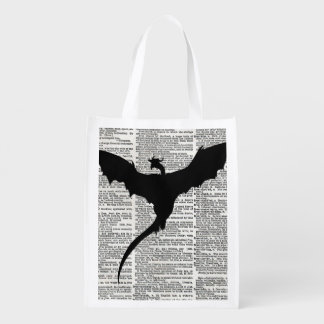 Vintage Dictionary Paper Dragon Medieval Reusable Grocery Bag