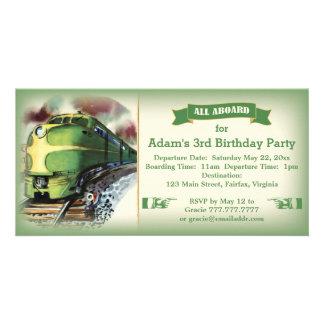 Vintage Diesel Train Birthday Party Invitation Photo Cards