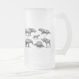Vintage Dinosaur Illustration Old Retro Dinosaurs Frosted Glass Beer Mug
