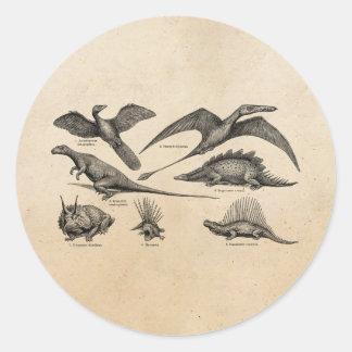 Vintage Dinosaur Illustration Retro Dinosaurs Classic Round Sticker