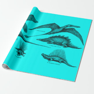 Vintage Dinosaur Illustration Retro Dinosaurs Wrapping Paper