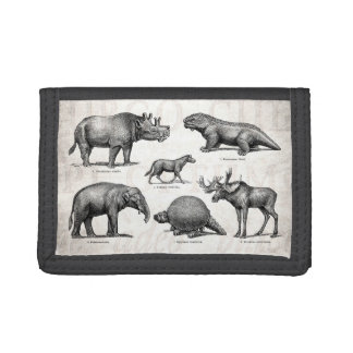 Vintage Dinosaur Old Illustration Retro Dinosaurs Tri-fold Wallet