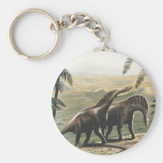 Vintage Dinosaurs, Amargasaurus with Palm Trees Basic Round Button Key Ring