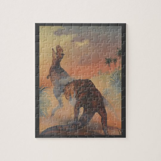 Vintage Dinosaurs, Carnotaurus Roaring in Jungle Jigsaw Puzzle