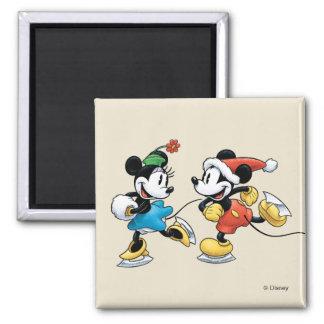 Vintage Disney   Mickey & Minnie Ice Skating Magnet