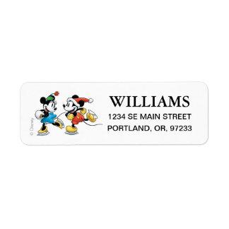 Vintage Disney   Mickey & Minnie Ice Skating Return Address Label