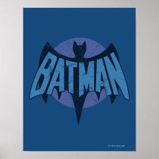 Vintage Distressed Bat Symbol Poster