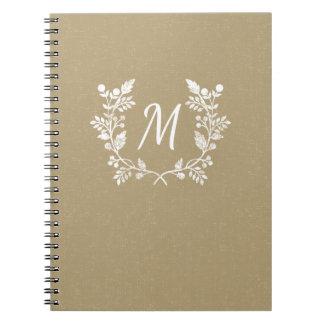 Vintage Distressed Beige White Floral Wreath Notebooks