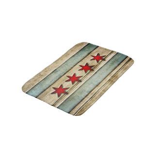 Vintage Distressed Chicago Flag Carved Wood Look Bath Mat