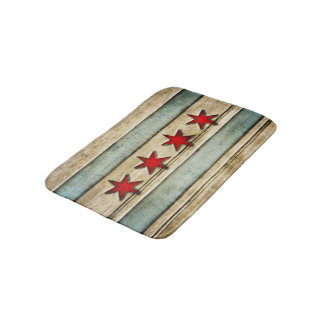Vintage Distressed Chicago Flag Carved Wood Look Bath Mats
