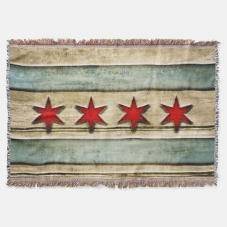 Vintage Distressed Chicago Flag Carved Wood Look Throw Blanket