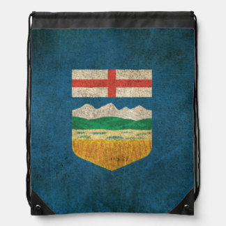 Vintage Distressed Flag of Alberta Drawstring Bag