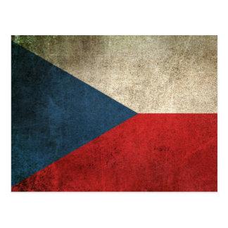 Vintage Distressed Flag of Czech Republic Postcard