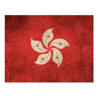 Vintage Distressed Flag of Hong Kong Postcard