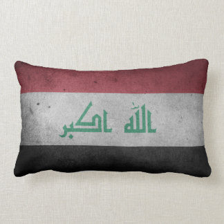 Vintage Distressed Flag of Iraq Lumbar Cushion