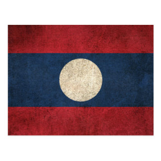 Vintage Distressed Flag of Laos Postcard