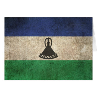 Vintage Distressed Flag of Lesotho Card