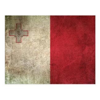 Vintage Distressed Flag of Malta Postcard