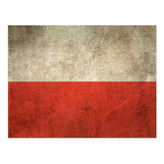 Vintage Distressed Flag of Poland Postcard
