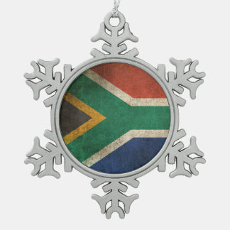 Vintage Distressed Flag of South Africa Snowflake Pewter Christmas Ornament