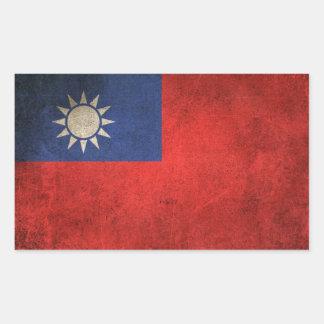 Vintage Distressed Flag of Taiwan Rectangular Sticker