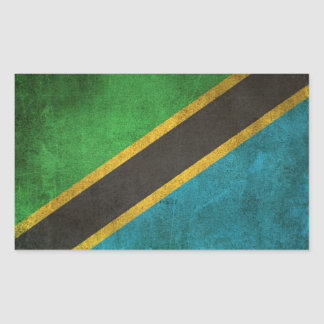 Vintage Distressed Flag of Tanzania Rectangular Sticker