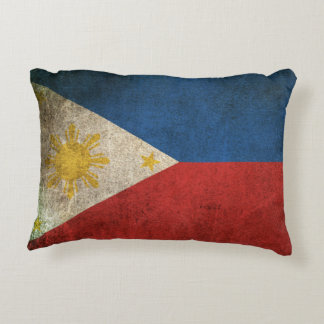 Vintage Distressed Flag of The Philippines Decorative Cushion