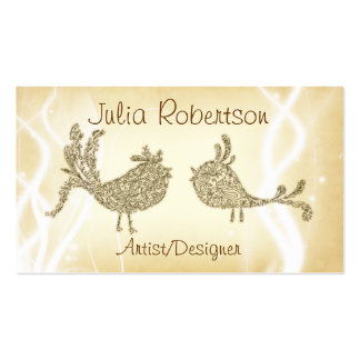 Vintage Distressed Floral Bird Business Cards