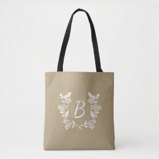 Vintage Distressed Floral Wreath Custom Monogram Tote Bag