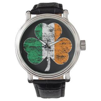Vintage Distressed Irish Flag Shamrock Watch