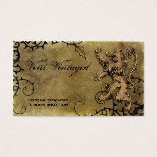 Vintage Distressed Lion & Thorns Business Cards