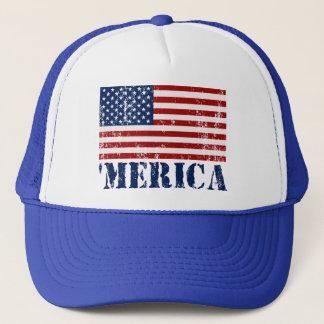 Vintage Distressed 'MERICA US Flag Trucker Hat