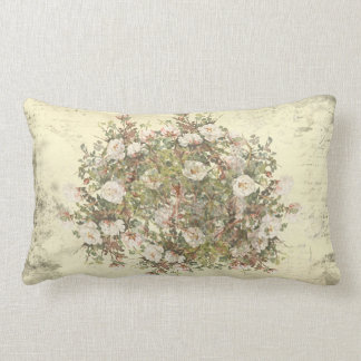 Vintage Distressed White Boho Rose Lumbar Cushion