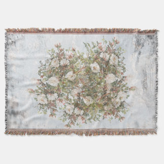Vintage Distressed White Boho Rose Throw Blanket