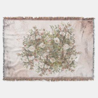 Vintage Distressed White Boho Rose Throw Blanket
