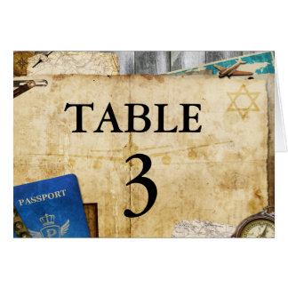 Vintage Distressed World Travel Table Number Cards