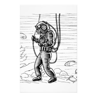Vintage Diver - ocean diving suit Custom Stationery