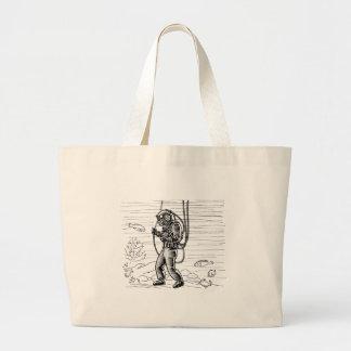 Vintage Diver - ocean diving suit Large Tote Bag
