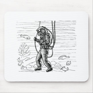 Vintage Diver - ocean diving suit Mouse Pad