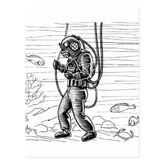 Vintage Diver - ocean diving suit Postcard