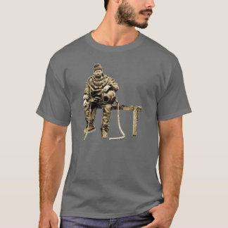 Vintage Diver with Diving Helmet on a Bench T-Shirt